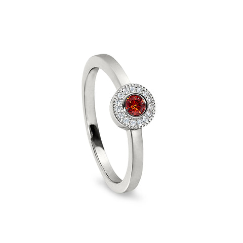 Sterling Silver Micropave Round Simulated January Birthstone Ring