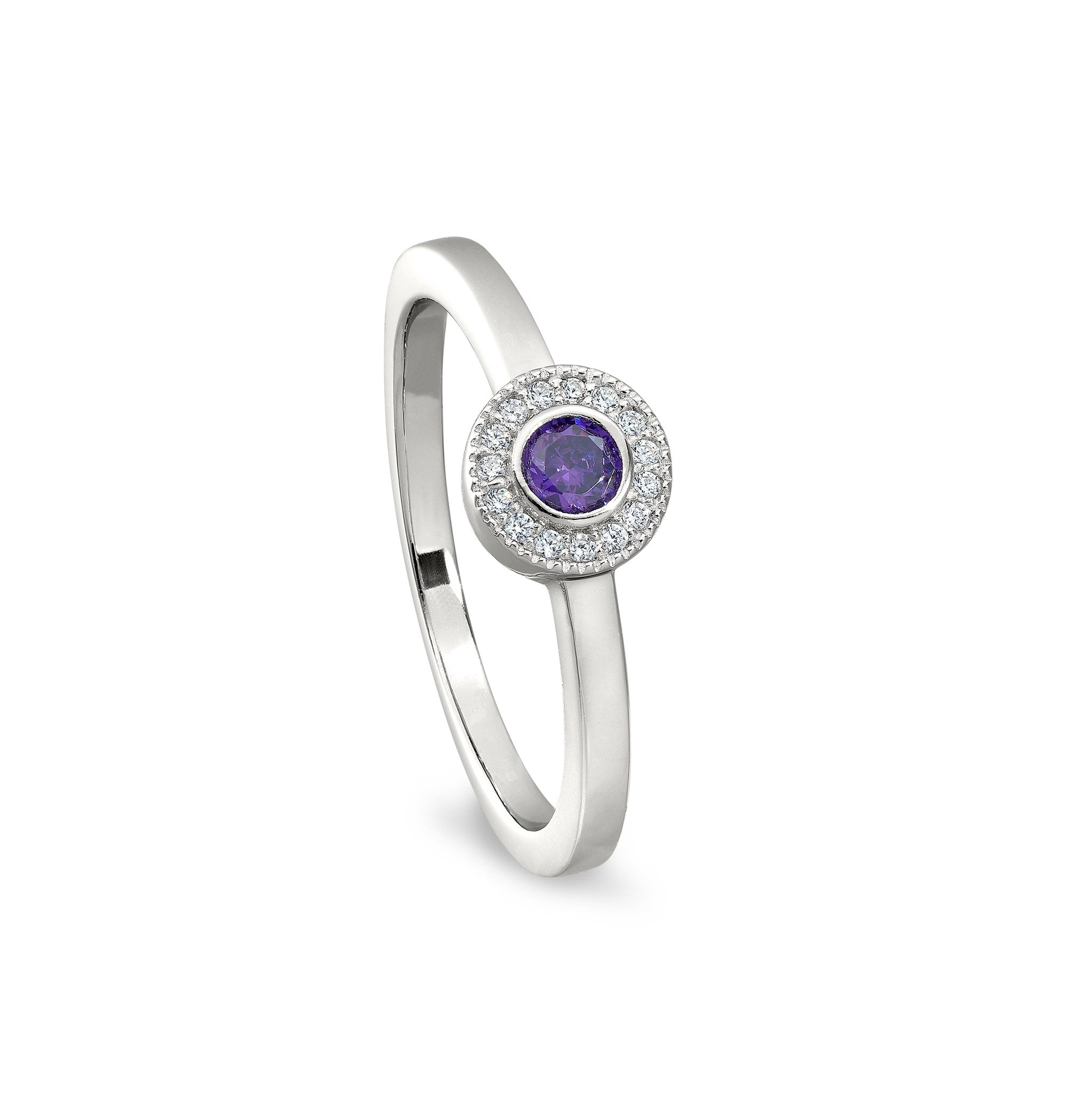 Sterling Silver Micropave Round Simulated February Birthstone Ring