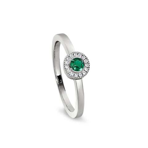 Sterling Silver Micropave Round Simulated May Birthstone Ring