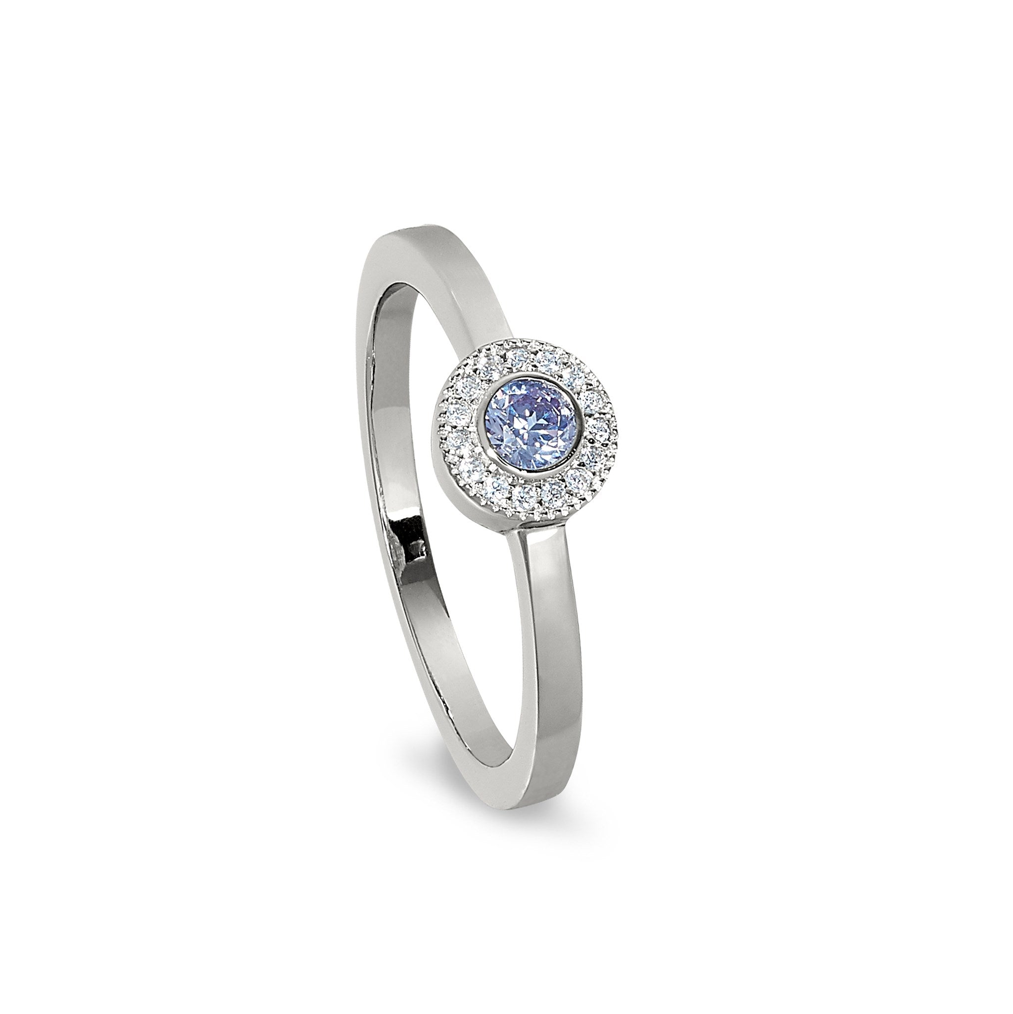 Sterling Silver Micropave Round Simulated June Birthstone Ring