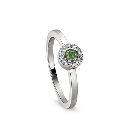 Sterling Silver Micropave Round Simulated August Birthstone Ring