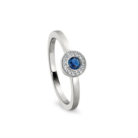 Sterling Silver Micropave Round Simulated September Birthstone Ring