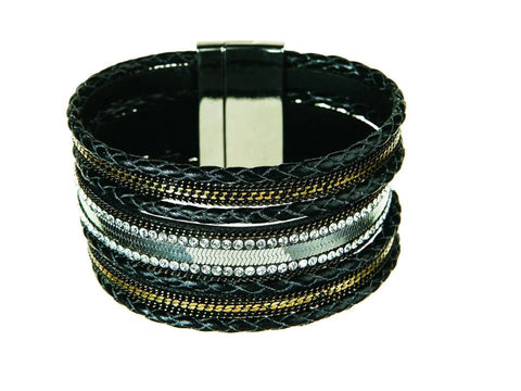 Black and Silver Braided Leather Magnetic Bracelet