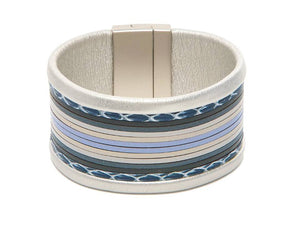 Silver, Gray and Blue Rolled Edge Magnetic Bracelet