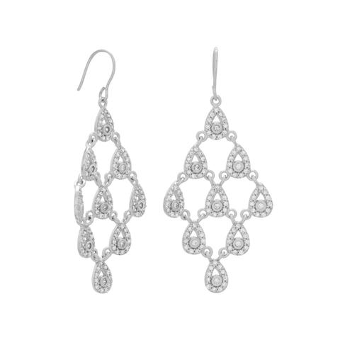 Rhodium Plated Pear Drop Chandelier Earrings