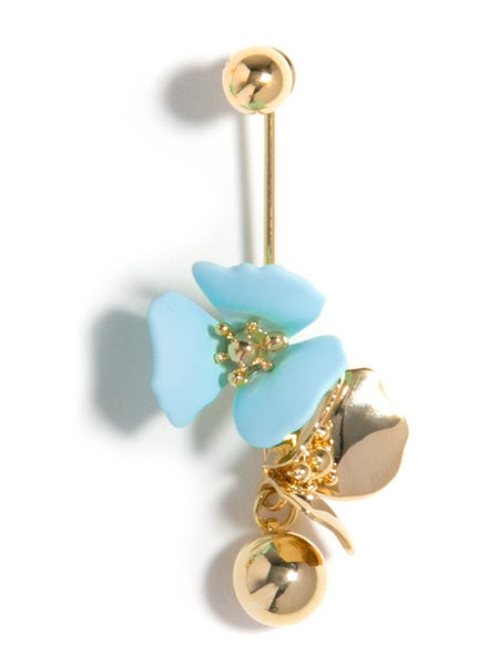 Floral Ball Drop Earring - Light Blue