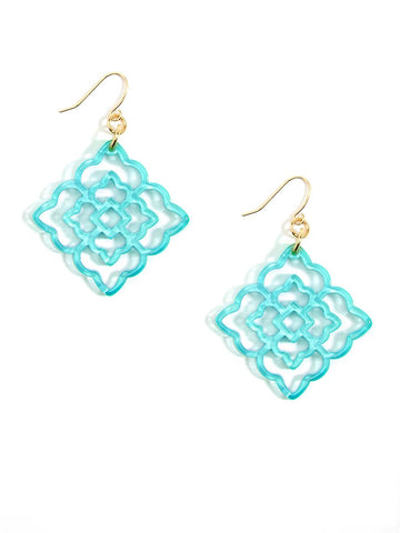 Rose Resin Drop Earring - Bright Blue