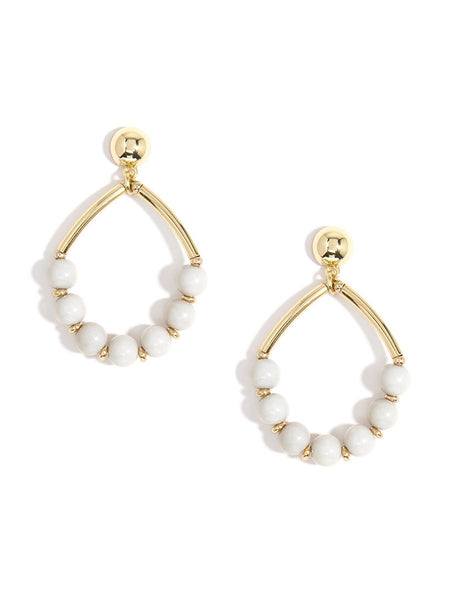 Metal Drop Earring with Resin Beads - Cream
