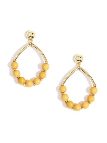 Metal Drop Earring with Resin Beads - Honey