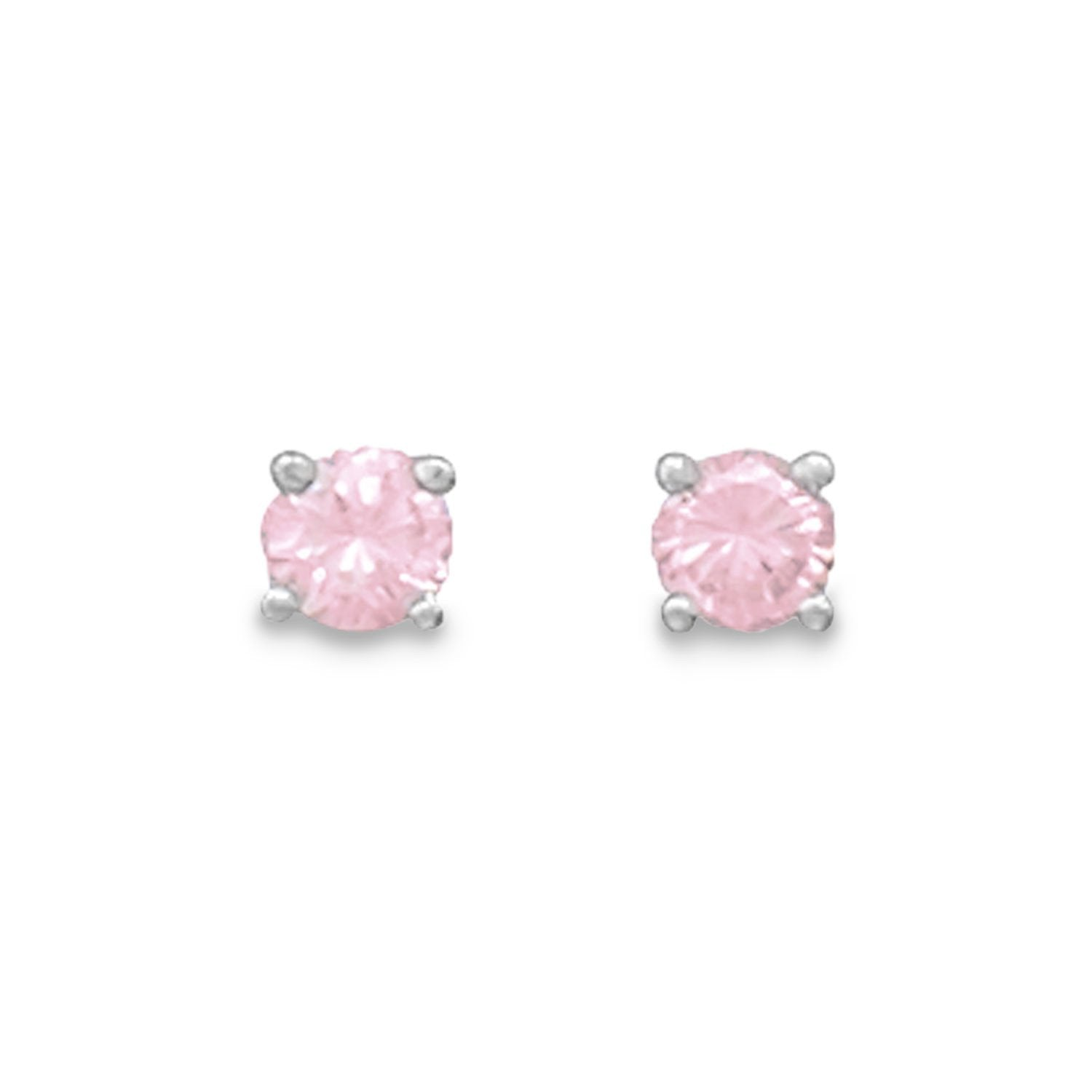 'Ally' Pink CZ Rhodium Plated Stud Earrings