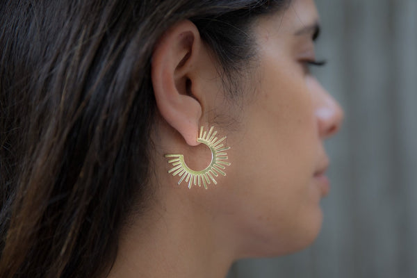 Gold Sun Hoop by LIV Rose