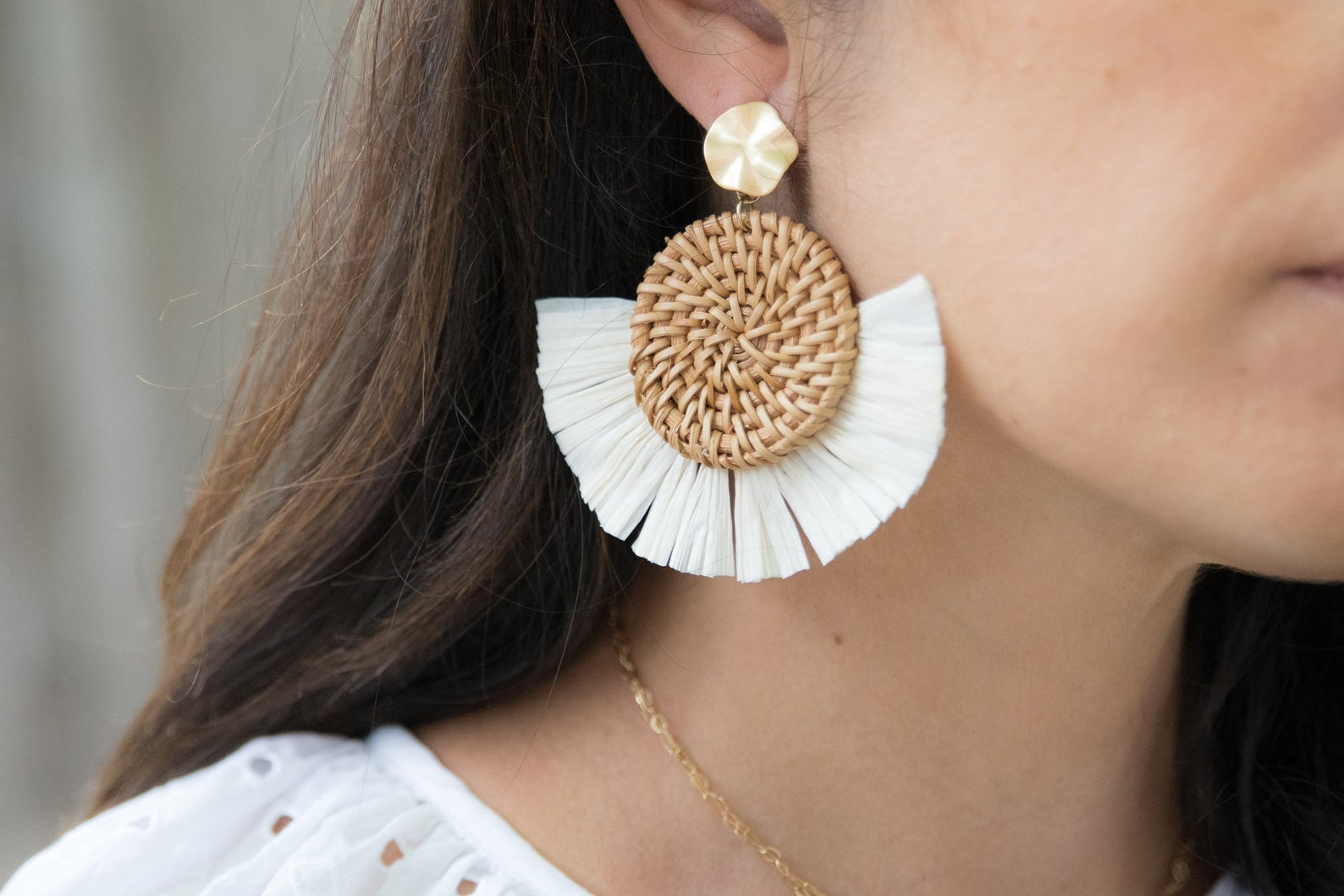 Woven Rattan Earrings by LIV Rose