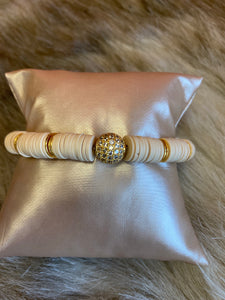 LIV Rose Cream Heishi with Gold Pave Bead Stretch Bracelet