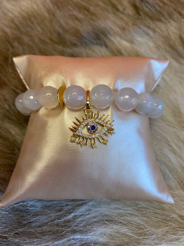 LIV Rose Moonstone Evil Eye Stretch Bracelet