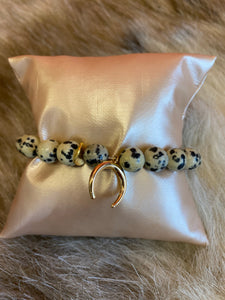 LIV Rose Dalmation Bead Crescent Stretch Bracelet