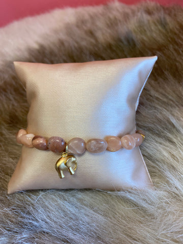 LIV Rose Elephant Bead Stretch Bracelet