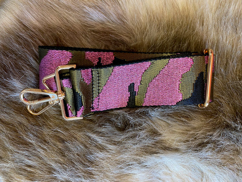 Ahdorned Hot Pink and Army Camoflauge  Strap with Gold Hardware