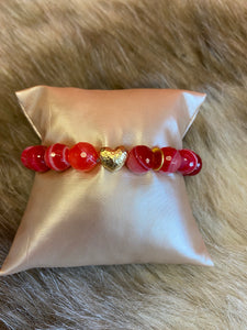 LIV Rose Red and Pink Heart Bead Stretch Bracelet
