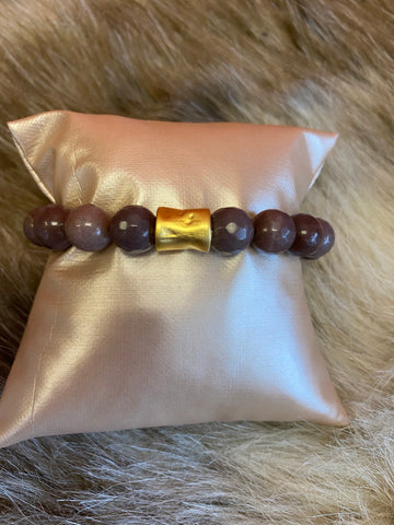LIV Rose Purple with Gold Bead Stretch Bracelet