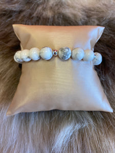 Good Beads Boston Howlite and Sterling Silver Stretch Bracelet