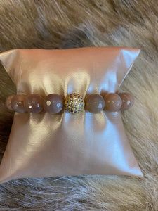 LIV Rose Sunstone Pave Bead Stretch Bracelet