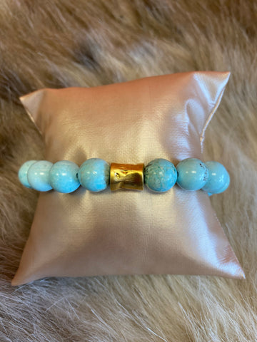 LIV Rose Light Blue Bead Stretch Bracelet