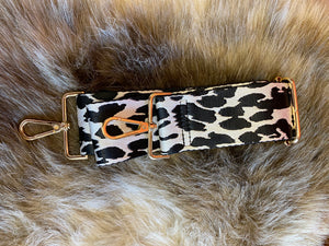 Ahdorned Black and White Animal Print Adjustable Strap with Gold Hardware