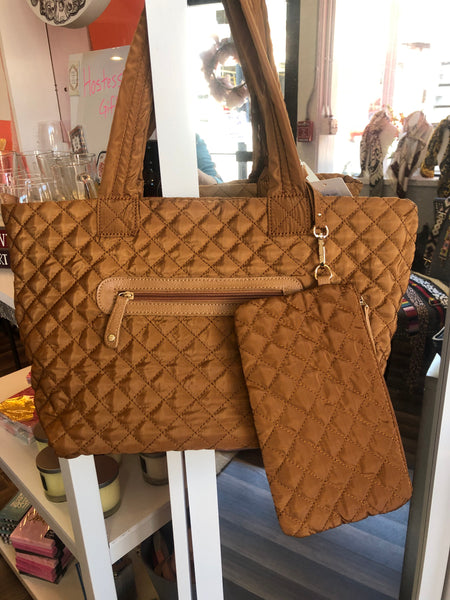 Quilted Zip Top Tote w/Detachable Wristlet