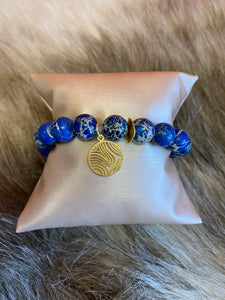 LIV Rose Blue Wave Bead Stretch Bracelet