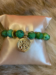 LIV Rose Green Bead Medallion Stretch Bracelet