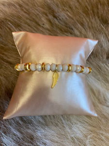 LIV Rose Feather Bead Stretch Bracelet