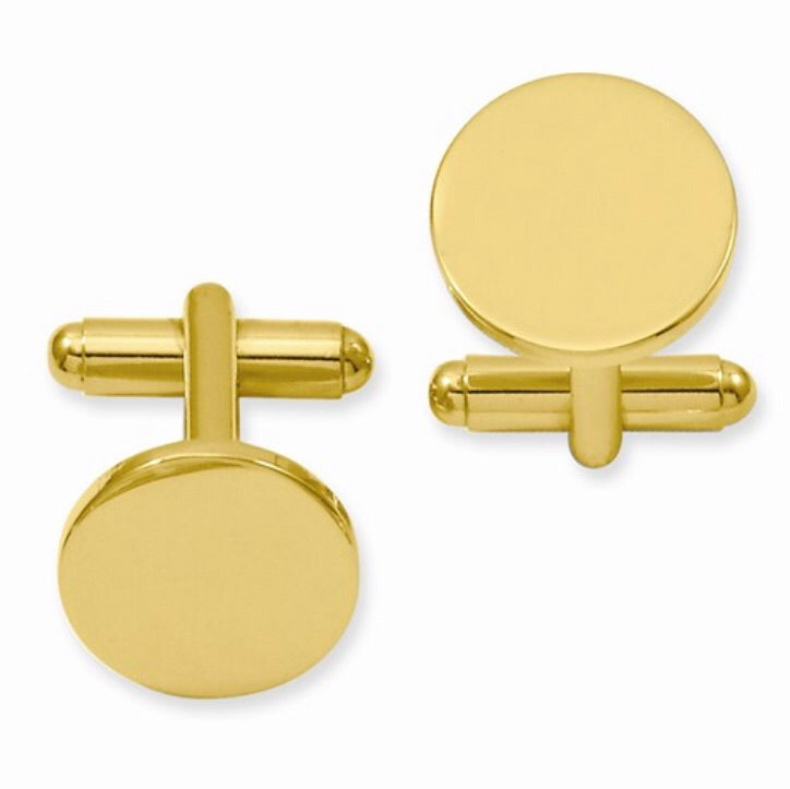 Gold-plated Round Polished Cuff Links