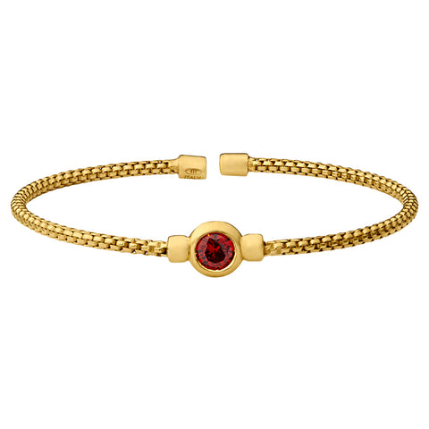January Birthstone: Gold Finish Sterling Silver Cuff Bracelet with Bezel Simulated Garnet Birth Gem