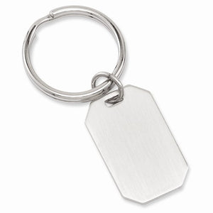Rhodium-plated Satin Rectangle Key Ring