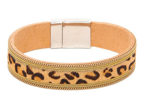 Gold Leopard Print Narrow Band Magnetic Leather Bracelet