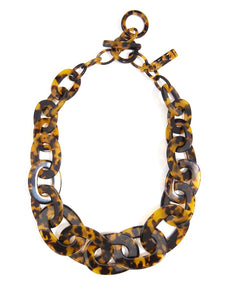 Tortoise Links Collar Necklace - Black/ Brown