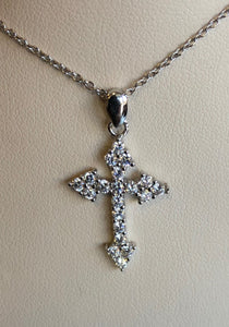 Rhodium Plated Sterling Silver CZ Cross Necklace