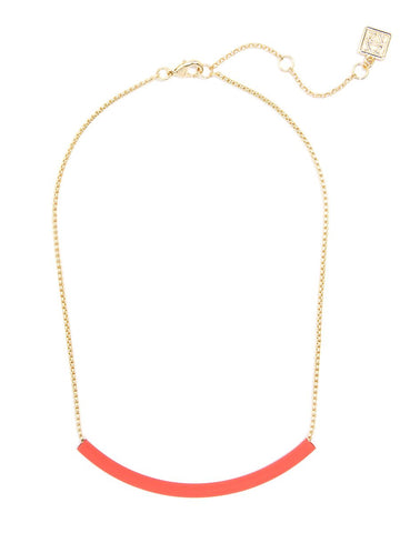 Painted Metal Bar Collar Necklace - Coral