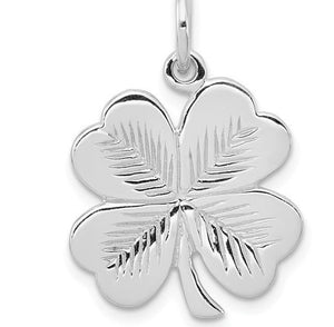 Four Leaf Clover Rhodium Plated Sterling Silver Necklace