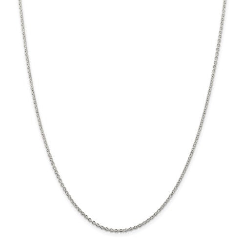 Rhodium-Plated Sterling Silver 1.95mm Cable Chain - 18 inches