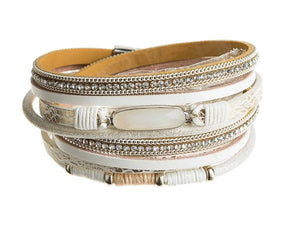 Silver Ivory Gem Snake Skin Magnetic Leather Bracelet