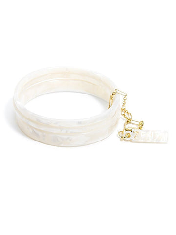 Tortoise Bangle Set - White
