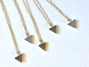 Gold Filled TRI Druzy Necklace by LIV Rose