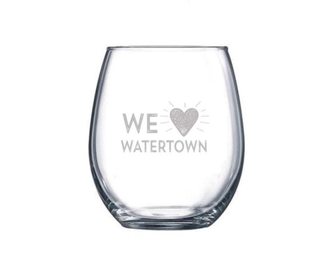 'We LOVE Watertown' Custom Etched Stemless Wine Glass