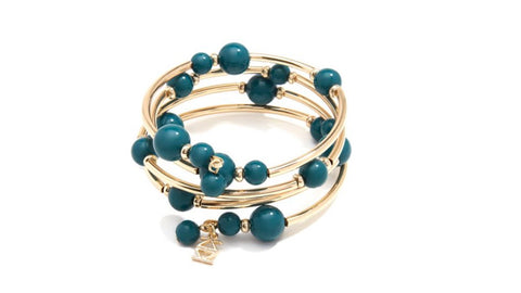 Beaded Metal Coil Bracelet - Teal