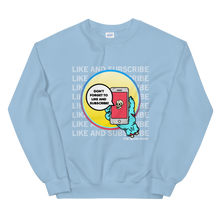 Load image into Gallery viewer, Like and Subscribe Crewneck | smash that like button, youtube, notification bell, selfie, youtuber, influencer tshirt, tee, t-shirt