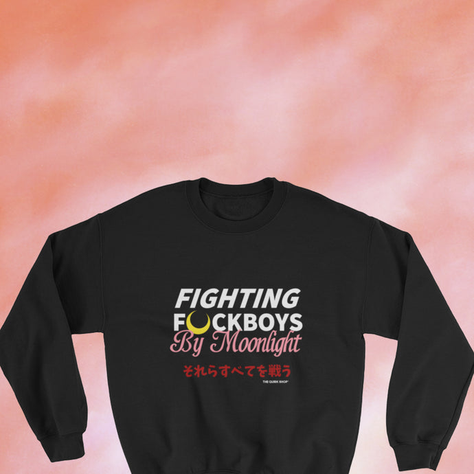 Fight F Boys By Moonlight Crewneck Sweater | sailor moon, sailor scouts, tuxedo mask, anime, geek, otaku, black owned