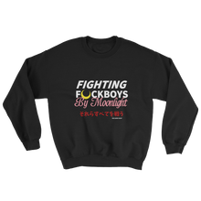 Load image into Gallery viewer, Fight F Boys By Moonlight Crewneck Sweater | sailor moon, sailor scouts, tuxedo mask, anime, geek, otaku, black owned