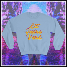 Load image into Gallery viewer, Lil Intro Vert Crewneck Sweat shirt fashion inspired by Lil' Uzi Vert. Get warm for fall and winter in this cotton blend attire. Lil Intro Vert T-shirt | lil uzi vert, introvert tshirt, social introvert, ambivert tee, hip hop t shirt