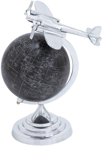 Benzara 28349 Globe With Matte Black Background And White Mapping